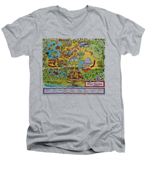 1971 Original Map Of The Magic Kingdom Men's V-Neck T-Shirt by Rob Hans