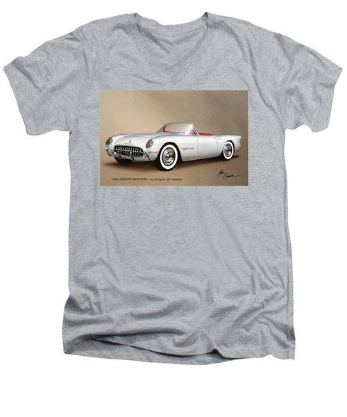 1953 Corvette Classic Vintage Sports Car Automotive Art Men's V-Neck T-Shirt by John Samsen