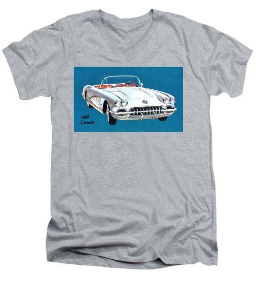 1958 Corvette Men's V-Neck T-Shirt