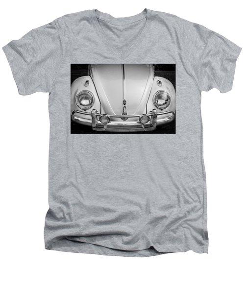 1960 Volkswagen Beetle Vw Bug   Bw Men's V-Neck T-Shirt
