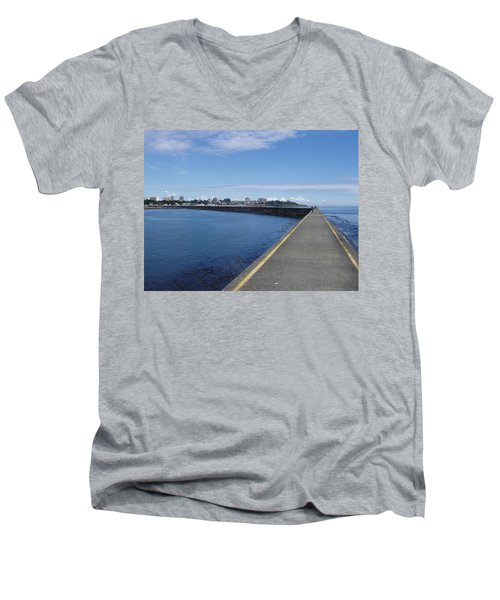 Men's V-Neck T-Shirt featuring the photograph Along The Breakwater by Marilyn Wilson