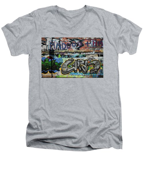Artistic Graffiti On The U2 Wall Men's V-Neck T-Shirt by Panoramic Images