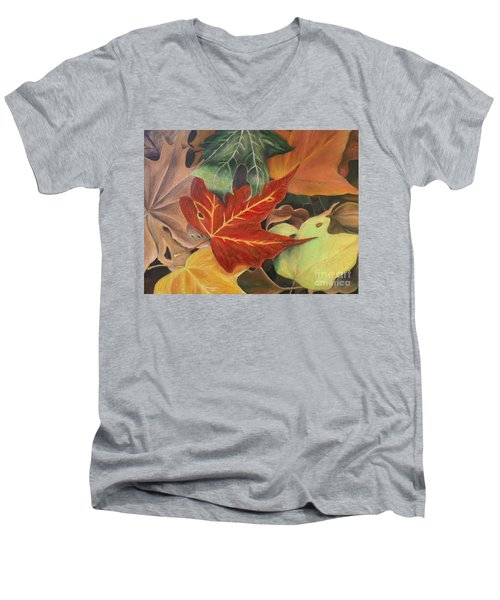 Men's V-Neck T-Shirt featuring the painting Autumn Leaves In Layers by Christy Saunders Church