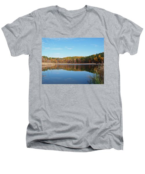 Men's V-Neck T-Shirt featuring the photograph Autumn Pond by Aimee L Maher Photography and Art Visit ALMGallerydotcom