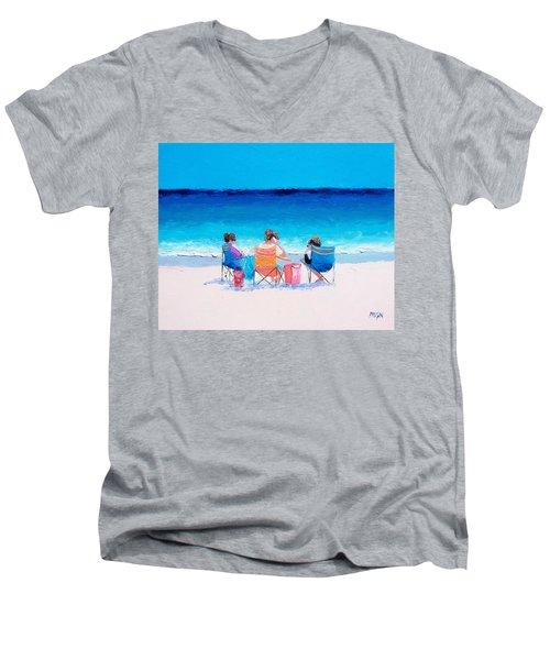 Beach Painting 'girl Friends' By Jan Matson Men's V-Neck T-Shirt by Jan Matson