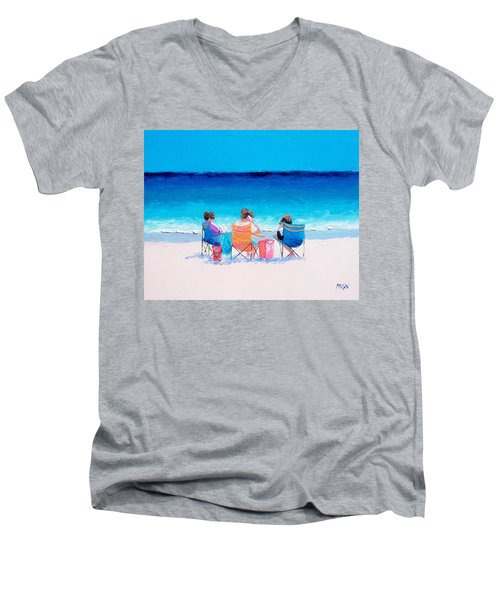 Beach Painting 'girl Friends' By Jan Matson Men's V-Neck T-Shirt