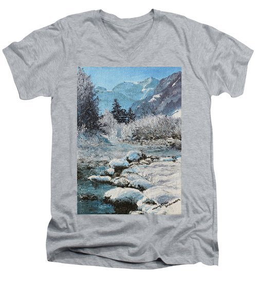 Men's V-Neck T-Shirt featuring the painting Blue Winter by Mary Ellen Anderson