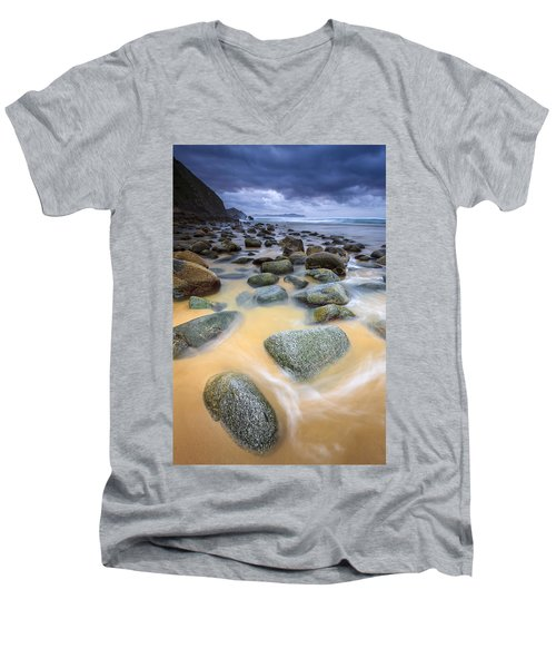 Men's V-Neck T-Shirt featuring the photograph Campelo Beach Galicia Spain by Pablo Avanzini