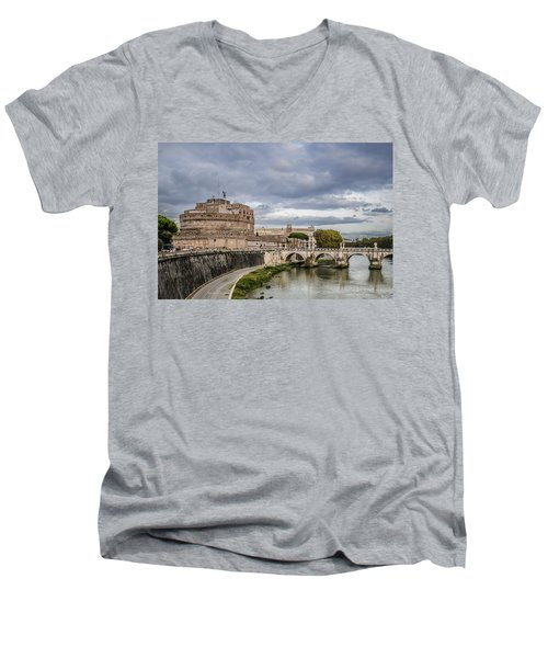 Castle St Angelo In Rome Italy Men's V-Neck T-Shirt