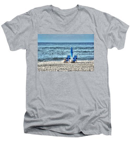 2 Chairs And Umbrella Men's V-Neck T-Shirt by Michael Thomas