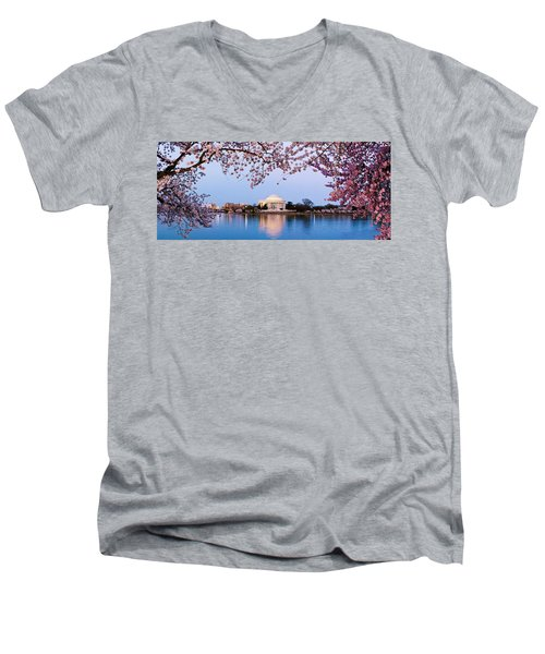 Cherry Blossom Tree With A Memorial Men's V-Neck T-Shirt