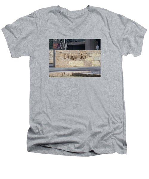 Men's V-Neck T-Shirt featuring the photograph City Garden by Kelly Awad