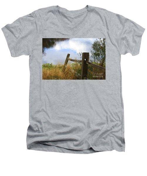 Cloud Reflections Men's V-Neck T-Shirt by Deborah Benoit