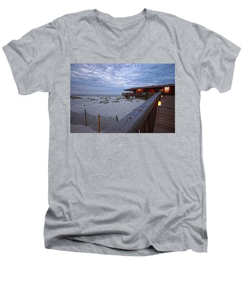 Men's V-Neck T-Shirt featuring the painting Cloudy Morning At The Sea N Suds by Michael Thomas