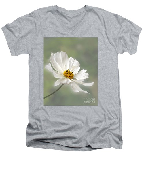 Cosmos Flower In White Men's V-Neck T-Shirt