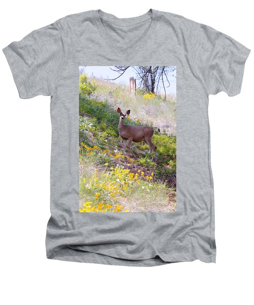 Men's V-Neck T-Shirt featuring the photograph Deer In Wildflowers by Athena Mckinzie