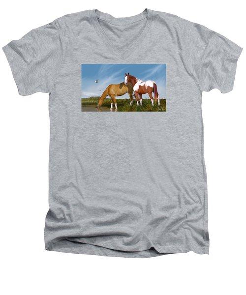 Destiny On Buffalo Plateau Men's V-Neck T-Shirt by Kate Black