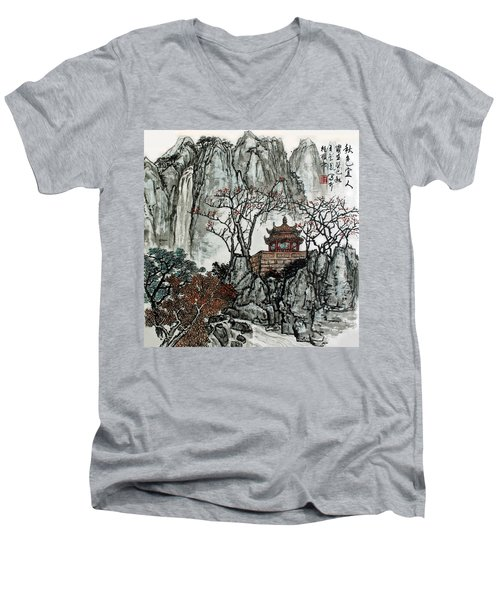 Men's V-Neck T-Shirt featuring the photograph Fall Colors by Yufeng Wang