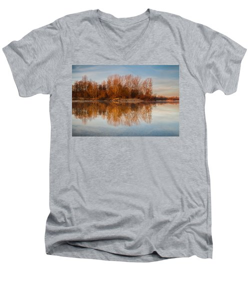 Men's V-Neck T-Shirt featuring the photograph First Light by Davorin Mance