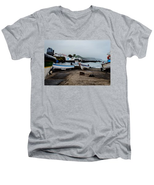 Fishing Boats On Wharf With View Of Houses  Men's V-Neck T-Shirt