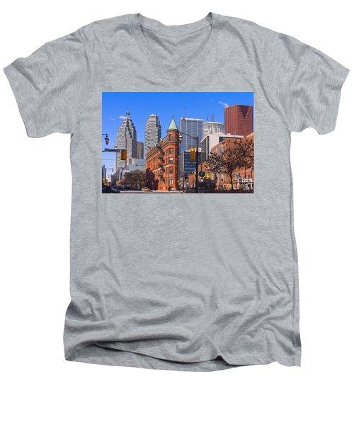 Flatiron Building In Toronto Men's V-Neck T-Shirt