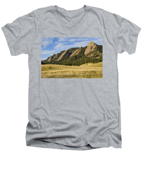 Flatirons With Golden Grass Boulder Colorado Men's V-Neck T-Shirt