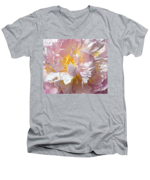 Men's V-Neck T-Shirt featuring the photograph Flirtatious Pink by Lilliana Mendez