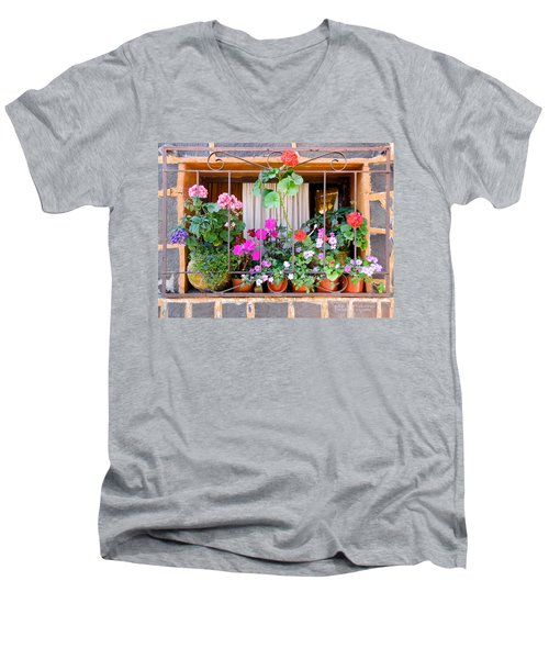 Flowers In A Mexican Window Men's V-Neck T-Shirt