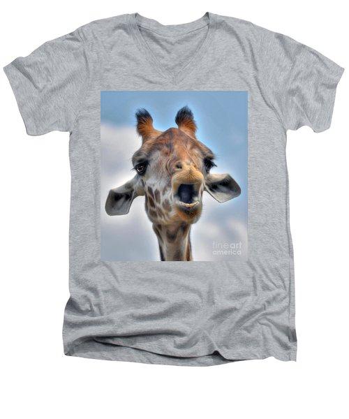 Men's V-Neck T-Shirt featuring the photograph Giraffe  by Savannah Gibbs