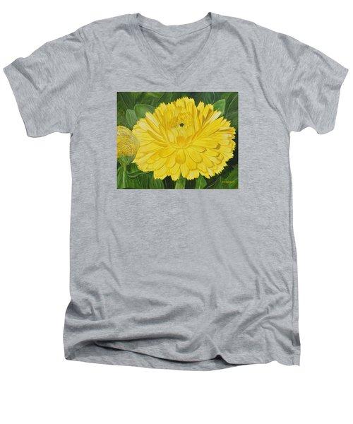 Golden Punch Men's V-Neck T-Shirt by Donna  Manaraze