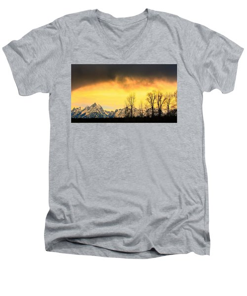 Men's V-Neck T-Shirt featuring the photograph Grand Tetons Wyoming by Amanda Stadther