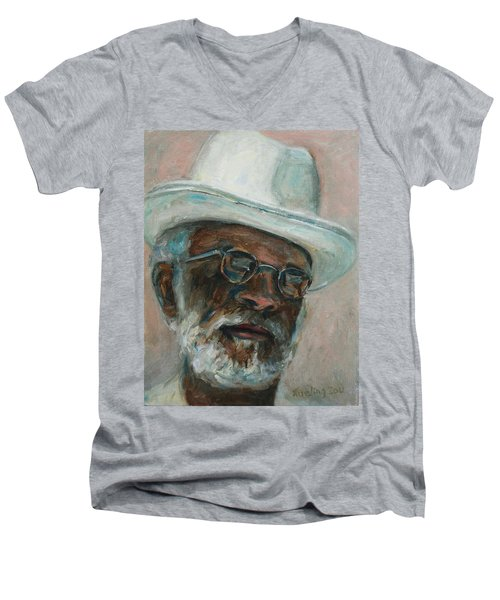 Gray Beard Under White Hat Men's V-Neck T-Shirt