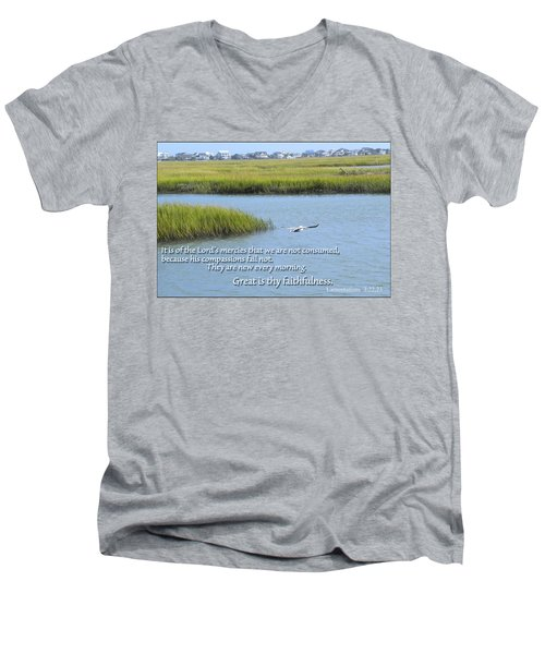 Men's V-Neck T-Shirt featuring the photograph Great Is Thy Faithfulness by Larry Bishop