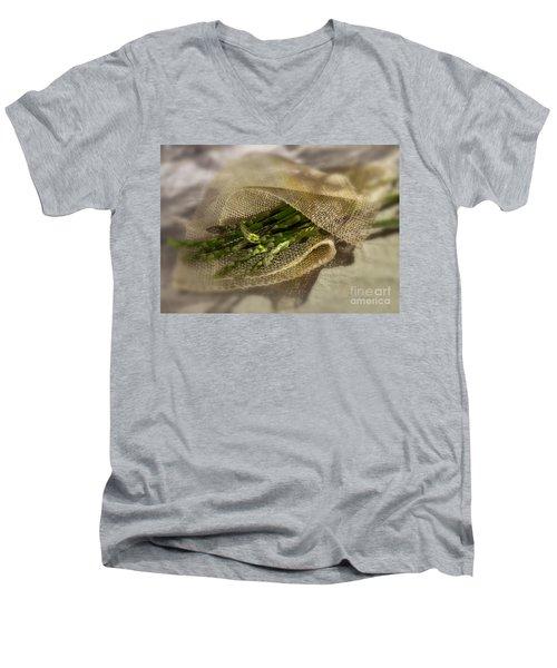 Green Asparagus On Burlab Men's V-Neck T-Shirt by Iris Richardson