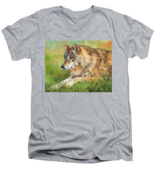 Grey Wolf Men's V-Neck T-Shirt by David Stribbling