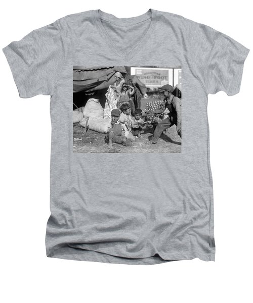 Men's V-Neck T-Shirt featuring the photograph Gypsies, C1923 by Granger
