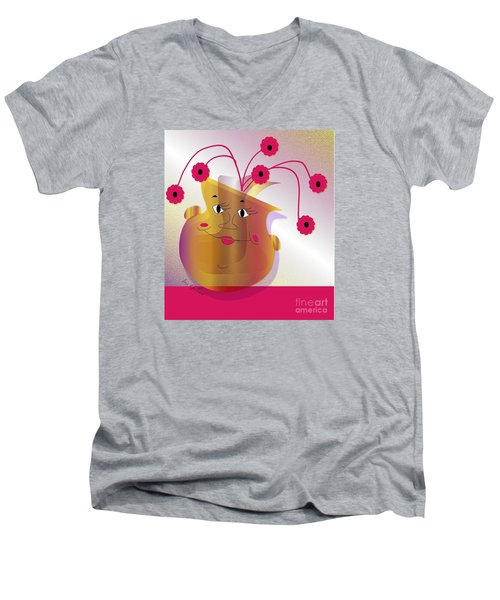 Happy Dance Men's V-Neck T-Shirt by Iris Gelbart