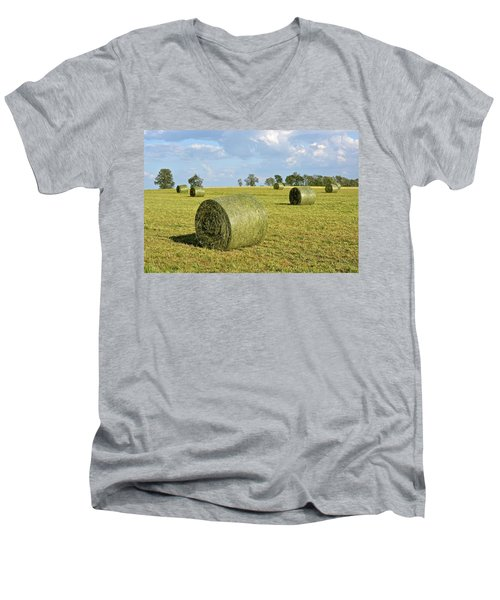 Hay Bales In Spring Men's V-Neck T-Shirt