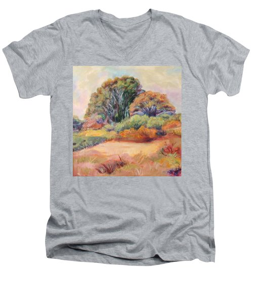 Men's V-Neck T-Shirt featuring the painting Henry's Backyard by Patricia Piffath