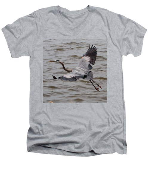 Heron In Flight. Men's V-Neck T-Shirt