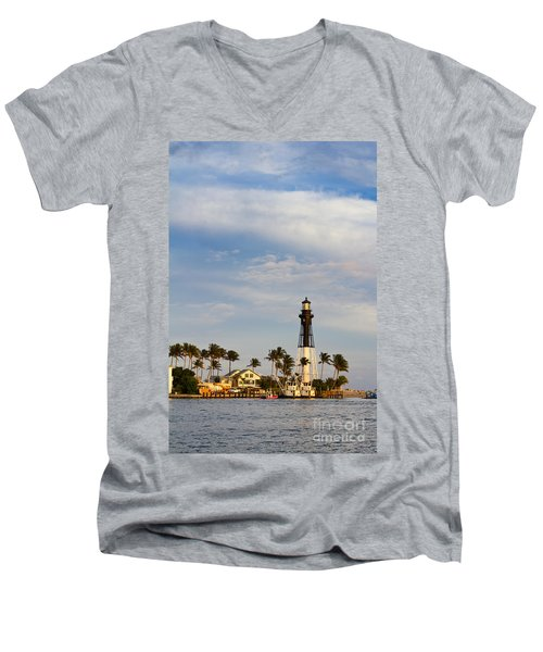 Hillsboro Inlet Lighthouse Men's V-Neck T-Shirt