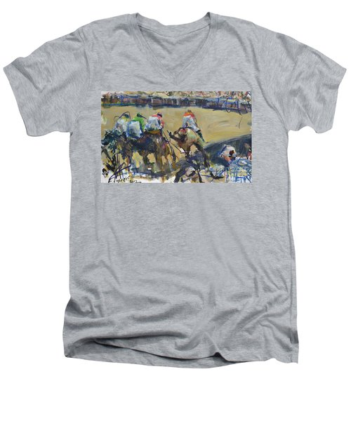 Horse Racing Painting Men's V-Neck T-Shirt