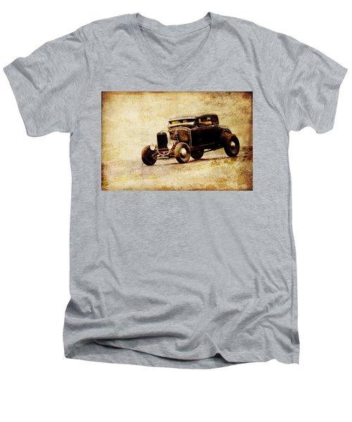 Hot Rod Ford Men's V-Neck T-Shirt by Steve McKinzie