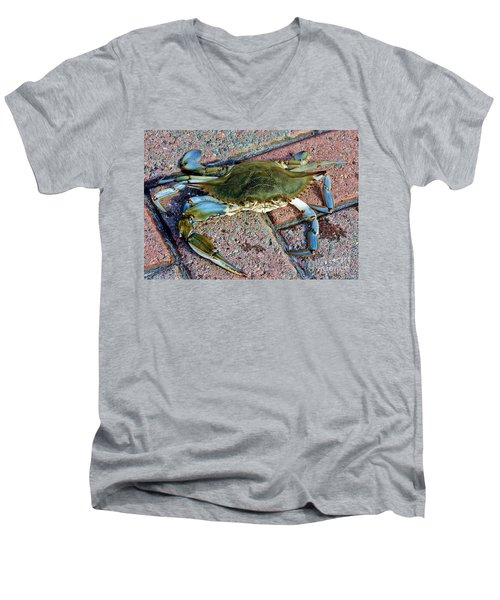 Men's V-Neck T-Shirt featuring the photograph Hudson River Crab by Lilliana Mendez