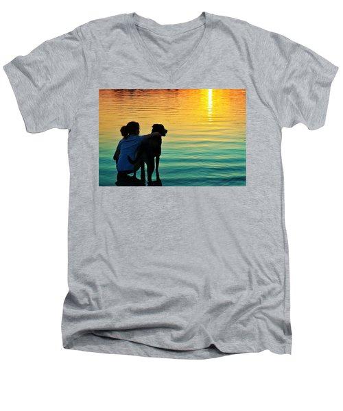 Island Men's V-Neck T-Shirt by Laura Fasulo