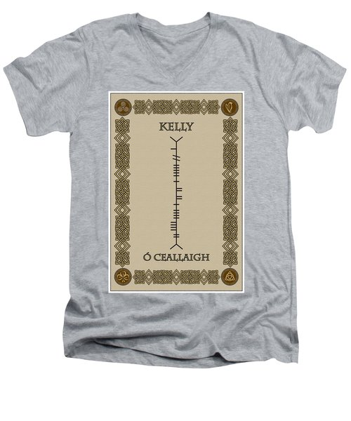 Men's V-Neck T-Shirt featuring the digital art Kelly Written In Ogham by Ireland Calling