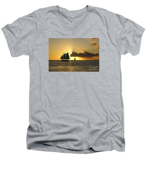 Men's V-Neck T-Shirt featuring the photograph Key West Sunset by Olga Hamilton