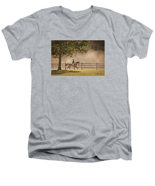 Men's V-Neck T-Shirt featuring the photograph Last Ride Of The Day by Joan Davis