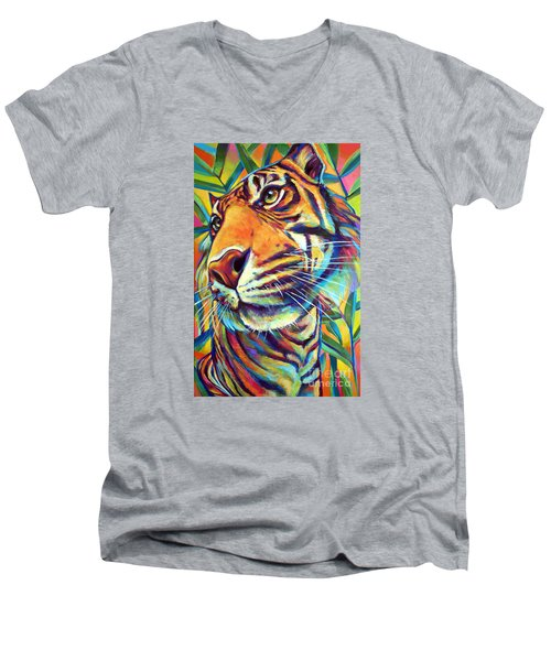 Men's V-Neck T-Shirt featuring the painting Le Tigre by Robert Phelps