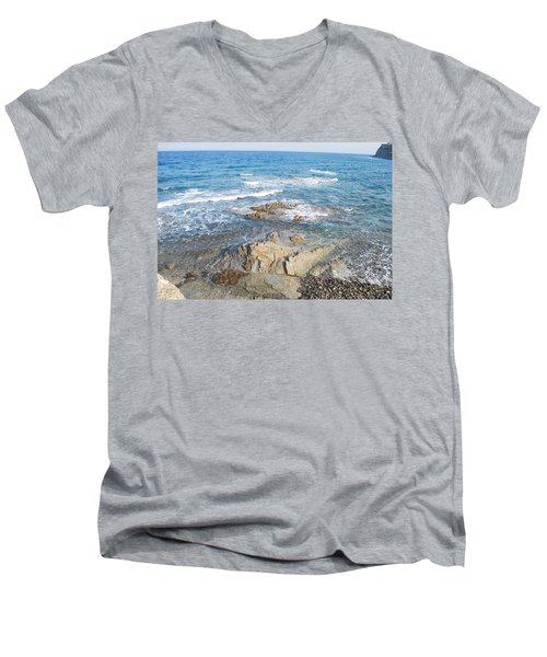 Men's V-Neck T-Shirt featuring the photograph Low Tide by George Katechis